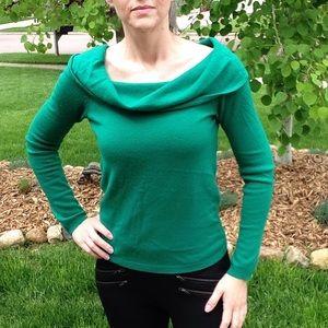 BCBG MAX AZRIA peacock green cashmere sweater S